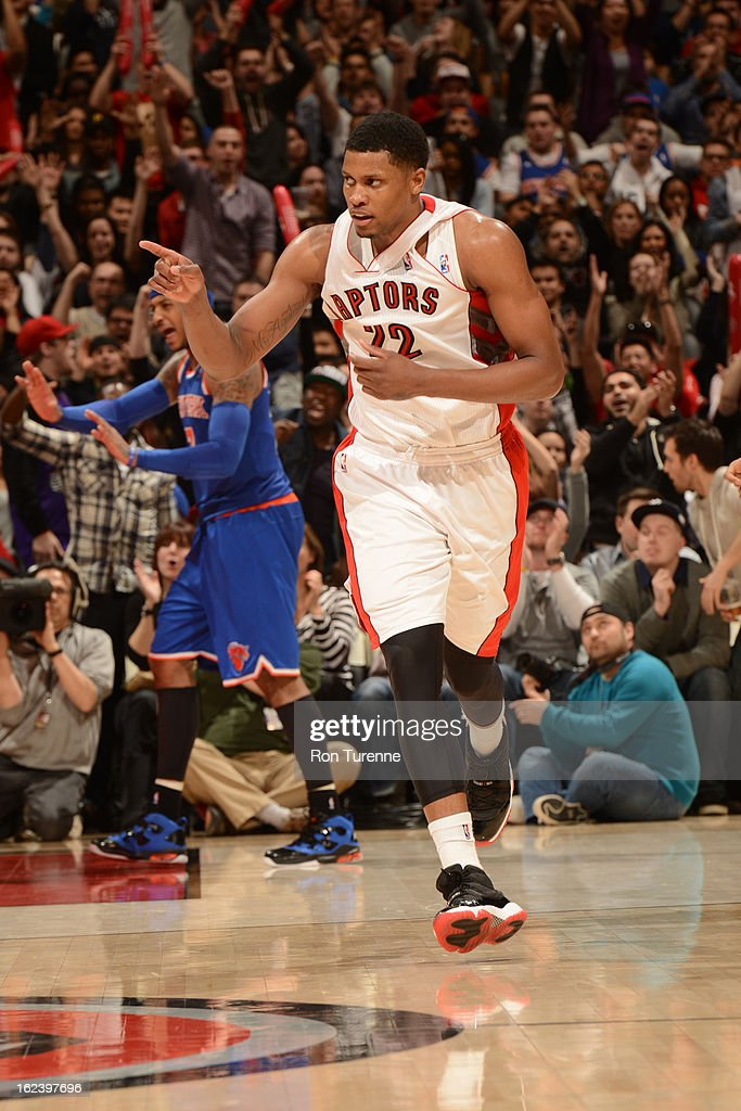 <a gi-track='captionPersonalityLinkClicked' href=/galleries/search?phrase=Rudy+Gay&family=editorial&specificpeople=236066 ng-click='$event.stopPropagation()'>Rudy Gay</a> #22 of the Toronto Raptors points to the bench in celebration against the New York Knicks on February 22, 2013 at the Air Canada Centre in Toronto, Ontario, Canada.