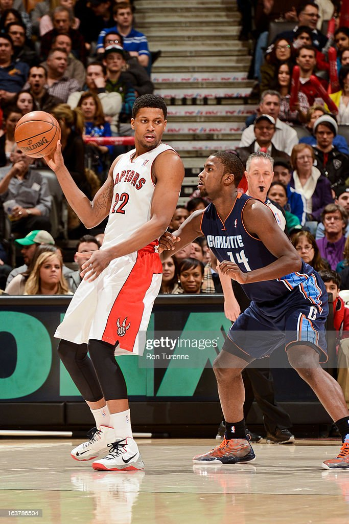 Rudy Gay #22 of the Toronto Raptors posts-up against Michael Kidd-Gilchrist #14 of the Charlotte Bobcats on March 15, 2013 at the Air Canada Centre in Toronto, Ontario, Canada.
