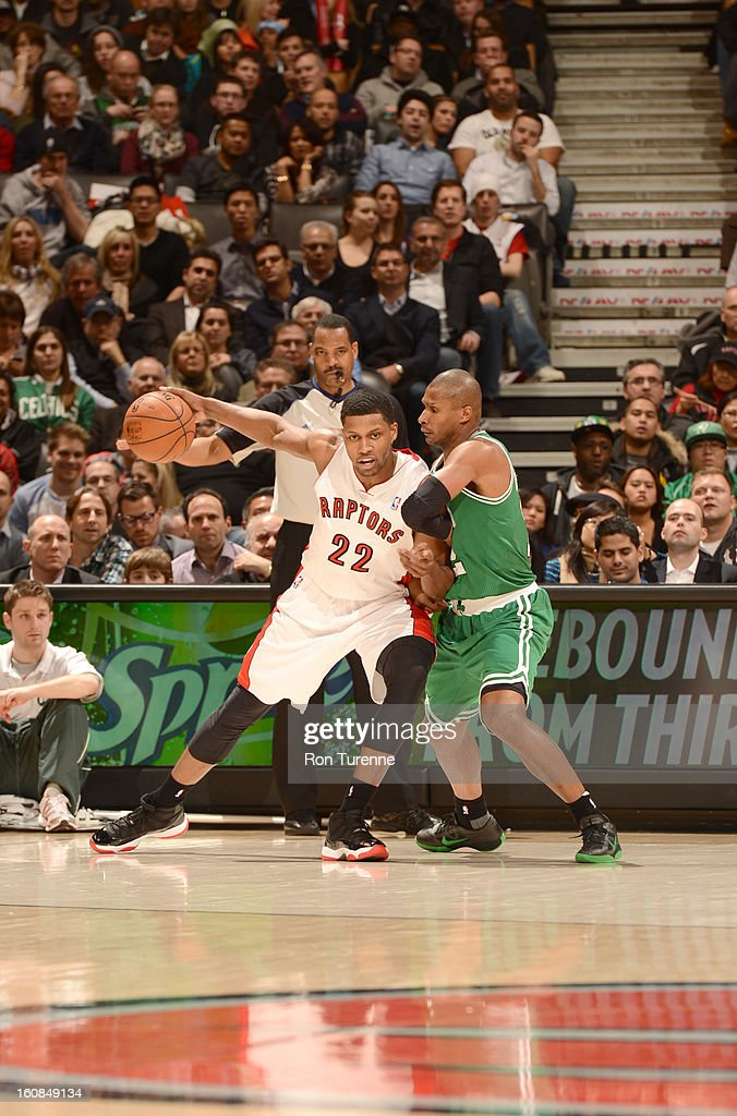 Rudy Gay #22 of the Toronto Raptors protects the ball from Leandro Barbosa #12 of the Boston Celtics during the game between the the Toronto Raptors and the Boston Celtics on February 6, 2013 at the Air Canada Centre in Toronto, Ontario, Canada.