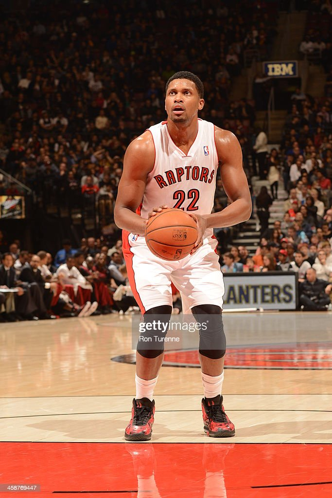 <a gi-track='captionPersonalityLinkClicked' href=/galleries/search?phrase=Rudy+Gay&family=editorial&specificpeople=236066 ng-click='$event.stopPropagation()'>Rudy Gay</a> #22 of the Toronto Raptors shoots a foul shot against the Miami Heat during the game on November 5, 2013 at the Air Canada Centre in Toronto, Ontario, Canada.