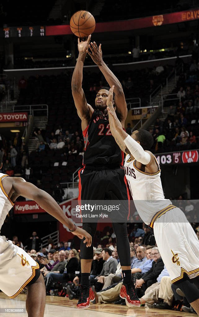 <a gi-track='captionPersonalityLinkClicked' href=/galleries/search?phrase=Rudy+Gay&family=editorial&specificpeople=236066 ng-click='$event.stopPropagation()'>Rudy Gay</a> #22 of the Toronto Raptors shoots against the Cleveland Cavaliers at The Quicken Loans Arena on February 27, 2013 in Cleveland, Ohio.