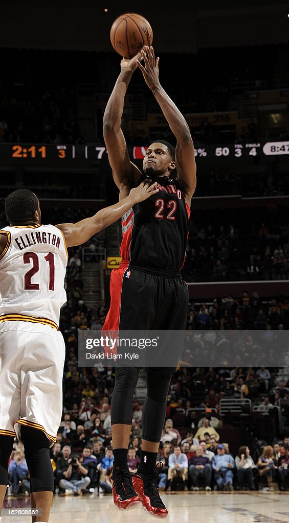 Rudy Gay #22 of the Toronto Raptors shoots against Wayne Ellington #21 of the Cleveland Cavaliers at The Quicken Loans Arena on February 27, 2013 in Cleveland, Ohio.