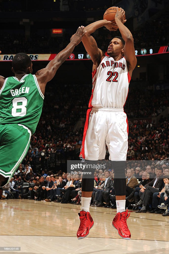 <a gi-track='captionPersonalityLinkClicked' href=/galleries/search?phrase=Rudy+Gay&family=editorial&specificpeople=236066 ng-click='$event.stopPropagation()'>Rudy Gay</a> #22 of the Toronto Raptors shoots the ball against the Boston Celtics on April 17, 2013 at the Air Canada Centre in Toronto, Ontario, Canada.