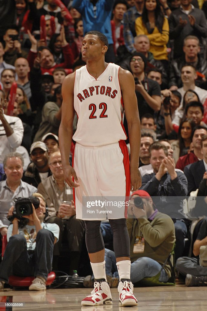 <a gi-track='captionPersonalityLinkClicked' href=/galleries/search?phrase=Rudy+Gay&family=editorial&specificpeople=236066 ng-click='$event.stopPropagation()'>Rudy Gay</a> #22 of the Toronto Raptors stands on the court during the game against the Los Angeles Clippers on February 1, 2013 at the Air Canada Centre in Toronto, Ontario, Canada.