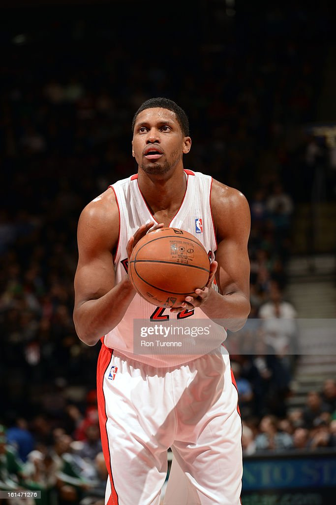 <a gi-track='captionPersonalityLinkClicked' href=/galleries/search?phrase=Rudy+Gay&family=editorial&specificpeople=236066 ng-click='$event.stopPropagation()'>Rudy Gay</a> #22 of the Toronto Raptors takes a foul shot against the Boston Celtics during the game on February 6, 2013 at the Air Canada Centre in Toronto, Ontario, Canada.