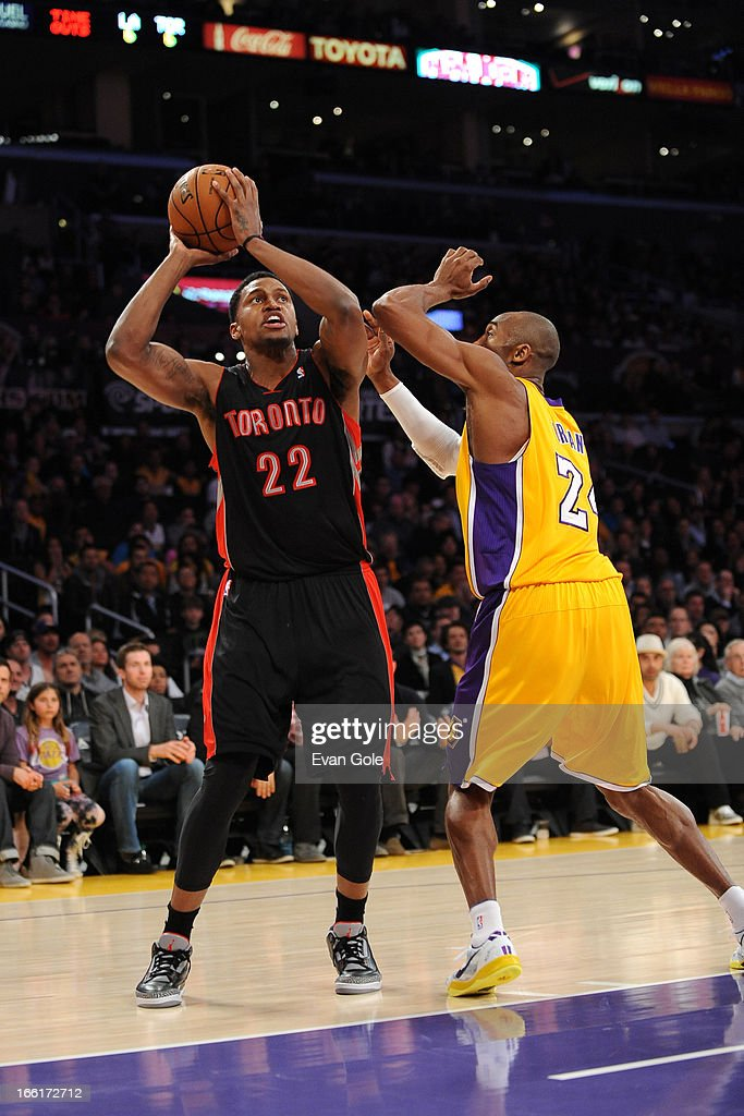 <a gi-track='captionPersonalityLinkClicked' href=/galleries/search?phrase=Rudy+Gay&family=editorial&specificpeople=236066 ng-click='$event.stopPropagation()'>Rudy Gay</a> #22 of the Toronto Raptors takes a shot against the Los Angeles Lakers at Staples Center on March 8, 2013 in Los Angeles, California.