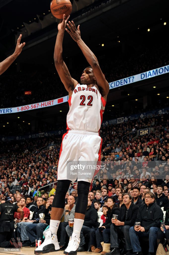 <a gi-track='captionPersonalityLinkClicked' href=/galleries/search?phrase=Rudy+Gay&family=editorial&specificpeople=236066 ng-click='$event.stopPropagation()'>Rudy Gay</a> #22 of the Toronto Raptors takes a shot against the Miami Heat on February 3, 2013 at the Air Canada Centre in Toronto, Ontario, Canada.