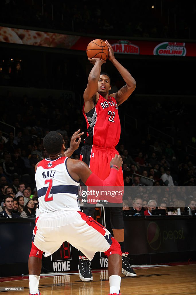 <a gi-track='captionPersonalityLinkClicked' href=/galleries/search?phrase=Rudy+Gay&family=editorial&specificpeople=236066 ng-click='$event.stopPropagation()'>Rudy Gay</a> #22 of the Toronto Raptors takes a shot against the Washington Wizards at the Verizon Center on February 19, 2013 in Washington, DC.