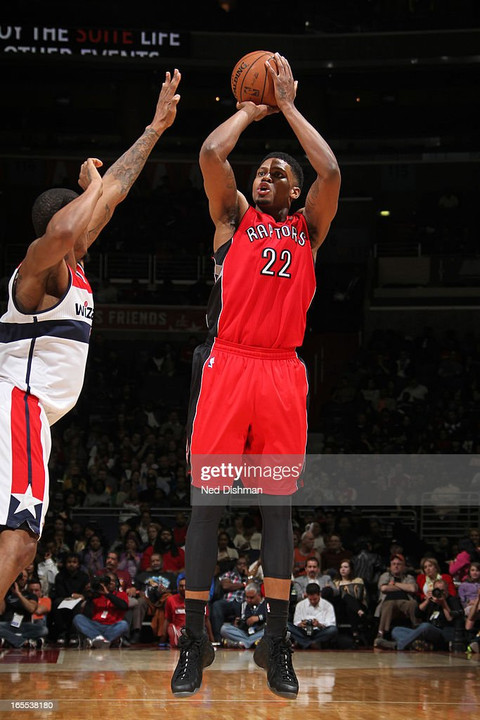 <a gi-track='captionPersonalityLinkClicked' href=/galleries/search?phrase=Rudy+Gay&family=editorial&specificpeople=236066 ng-click='$event.stopPropagation()'>Rudy Gay</a> #22 of the Toronto Raptors takes a shot against the Washington Wizards at the Verizon Center on March 31, 2013 in Washington, DC.
