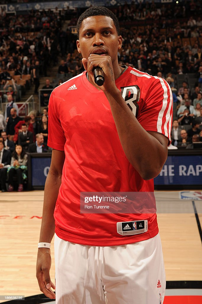 <a gi-track='captionPersonalityLinkClicked' href=/galleries/search?phrase=Rudy+Gay&family=editorial&specificpeople=236066 ng-click='$event.stopPropagation()'>Rudy Gay</a> #22 of the Toronto Raptors talks to the crowd before the game against the Boston Celtics on October 23, 2013 at the Air Canada Centre in Toronto, Ontario, Canada.
