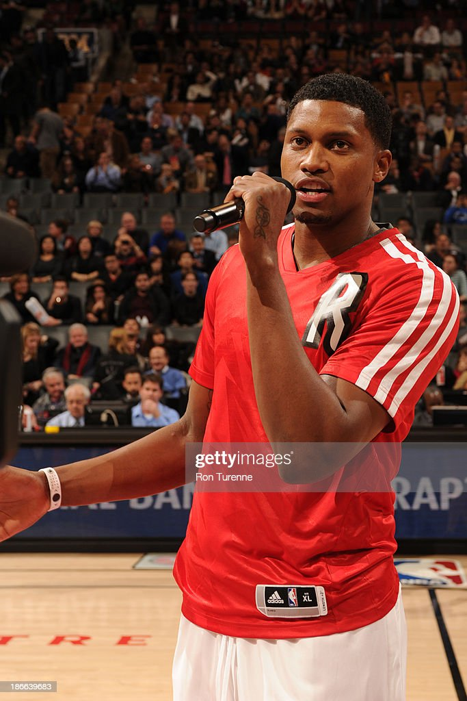Rudy Gay #22 of the Toronto Raptors talks to the crowd before the game against the Boston Celtics on October 23, 2013 at the Air Canada Centre in Toronto, Ontario, Canada.