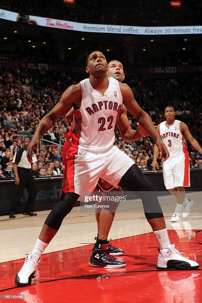 <a gi-track='captionPersonalityLinkClicked' href=/galleries/search?phrase=Rudy+Gay&family=editorial&specificpeople=236066 ng-click='$event.stopPropagation()'>Rudy Gay</a> #22 of the Toronto Raptors waits for a rebound against the Miami Heat on February 3, 2013 at the Air Canada Centre in Toronto, Ontario, Canada.