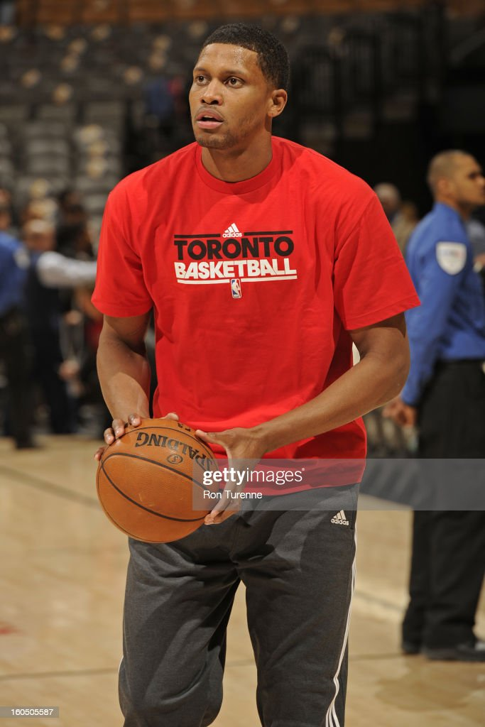 Rudy Gay #22 of the Toronto Raptors warms up before the game against the Los Angeles Clippers on February 1, 2013 at the Air Canada Centre in Toronto, Ontario, Canada.