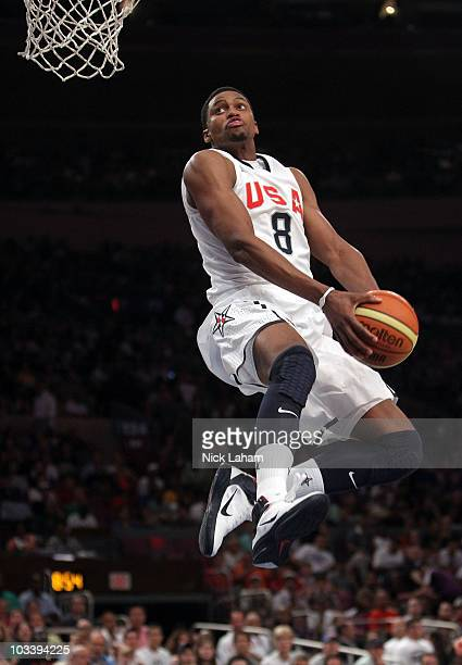 Rudy Gay of the United States goes up for the dunk against France during their exhibition game as part of the World Basketball Festival at Madison...