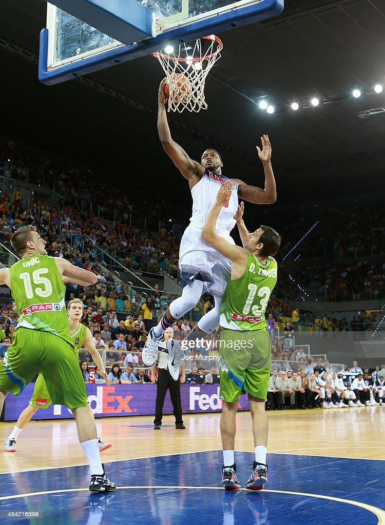 <a gi-track='captionPersonalityLinkClicked' href=/galleries/search?phrase=Rudy+Gay&family=editorial&specificpeople=236066 ng-click='$event.stopPropagation()'>Rudy Gay</a> #8 of the USA Basketball Men's National Team drives to the basket against the Slovenia Basketball Men's National Team on August 26, 2014 at Gran Canaria Arena in Las Palmas, Gran Canaria, Spain.