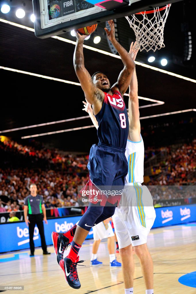 <a gi-track='captionPersonalityLinkClicked' href=/galleries/search?phrase=Rudy+Gay&family=editorial&specificpeople=236066 ng-click='$event.stopPropagation()'>Rudy Gay</a> #8 of the USA Basketball Men's National Team drives to the basket against the Ukraine Basketball Team during the FIBA 2014 World Cup Tournament at the Bilbao Exhibition Center on September 04, 2014 in Bilbao, Spain.