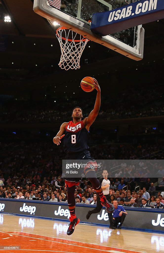 <a gi-track='captionPersonalityLinkClicked' href=/galleries/search?phrase=Rudy+Gay&family=editorial&specificpeople=236066 ng-click='$event.stopPropagation()'>Rudy Gay</a> #8 of the USA shoots against Puerto Rico during their game at Madison Square Garden on August 22, 2014 in New York City.