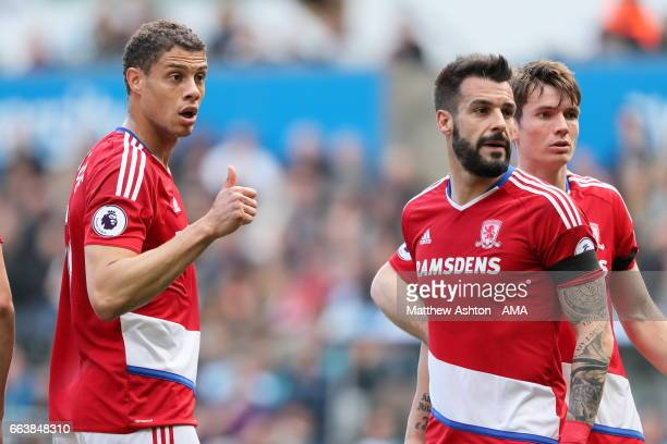 Rudy Gestede and Alvaro Negredo of Middlesbrough during the Premier League match between Swansea City and Middlesbrough at Liberty Stadium on April 2...