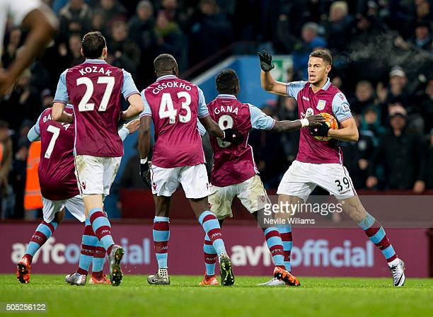 Rudy Gestede of Aston Villa celebrates his goal for Aston Villa during the Barclays Premier League match between Aston Villa and Leicester City at...