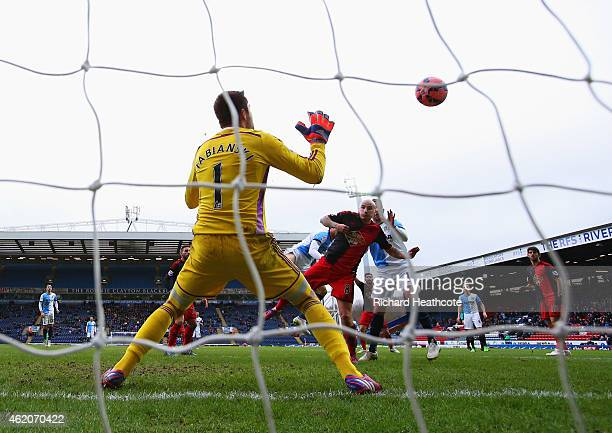 Rudy Gestede of Blackburn Rovers scores their second goal past goalkeeper Lukasz Fabianski of Swansea City during the FA Cup Fourth Round match...