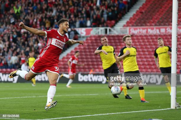 Rudy Gestede of Middlesbrough celebrates after Britt Assombalonga of Middlesbrough scores a goal to make it 10 during the Sky Bet Championship match...
