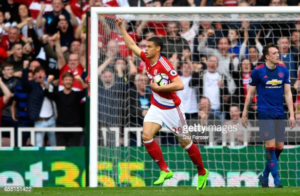 Rudy Gestede of Middlesbrough celebrates scoring his sides first goal during the Premier League match between Middlesbrough and Manchester United at...