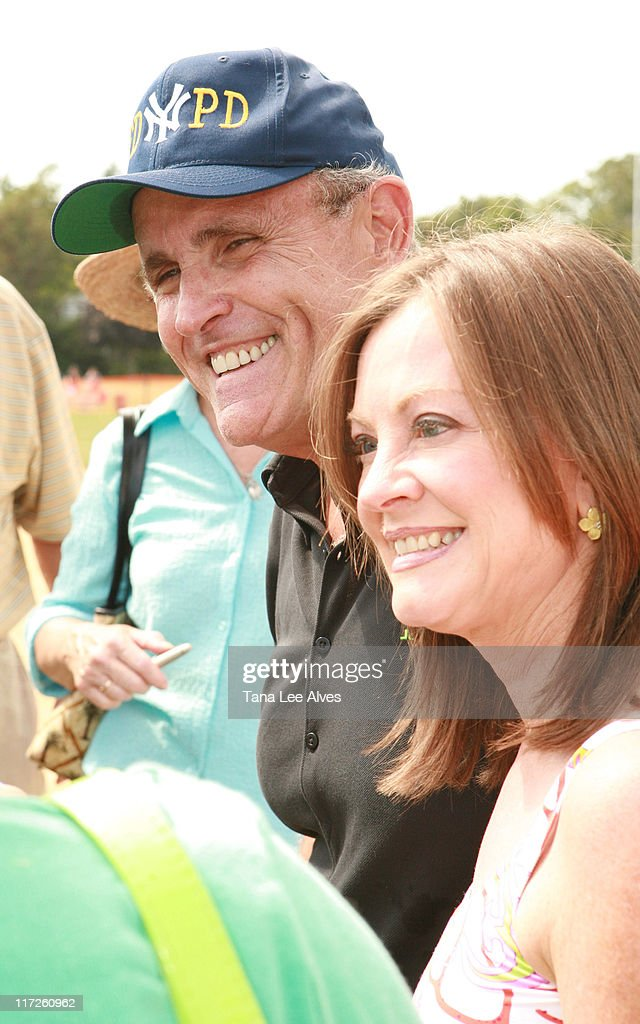 Rudy Giuliani and wife Judith Giuliani during The 58th Annual Artists and Writers Softball Game to Benefit East End Hospice East End Day Care and The...