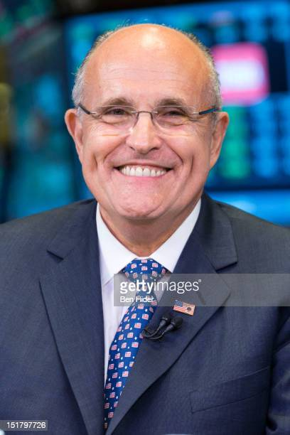 Rudy Giuliani former mayor of New York City sits for an interview on CNBC at the New York Stock Exchange on September 11 2012 in New York City