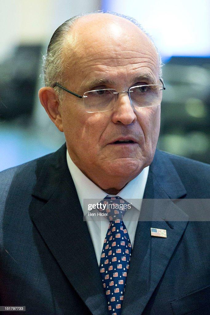 Rudy Giuliani, former mayor of New York City, sits for an interview on CNBC - rudy-giuliani-former-mayor-of-new-york-city-sits-for-an-interview-on-picture-id151797733