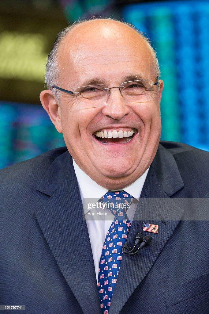 Rudy Giuliani, former mayor of New York City, sits for an interview on CNBC - rudy-giuliani-former-mayor-of-new-york-city-sits-for-an-interview-on-picture-id151797741