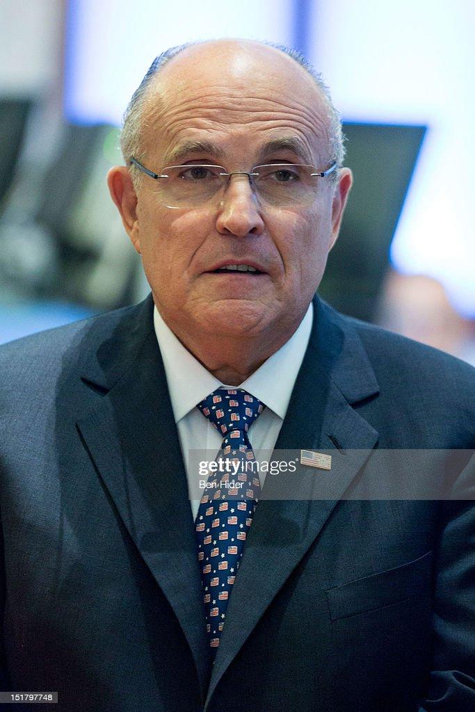 Rudy Giuliani, former mayor of New York City, sits for an interview on CNBC - rudy-giuliani-former-mayor-of-new-york-city-sits-for-an-interview-on-picture-id151797748