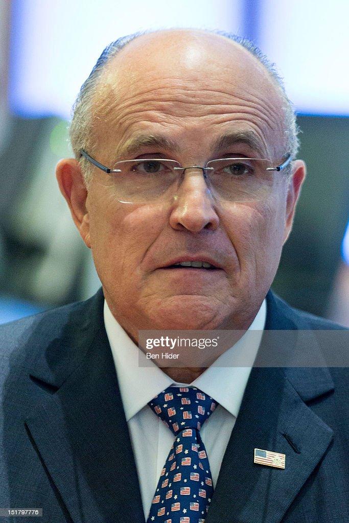 Rudy Giuliani, former mayor of New York City, sits for an interview on CNBC - rudy-giuliani-former-mayor-of-new-york-city-sits-for-an-interview-on-picture-id151797776