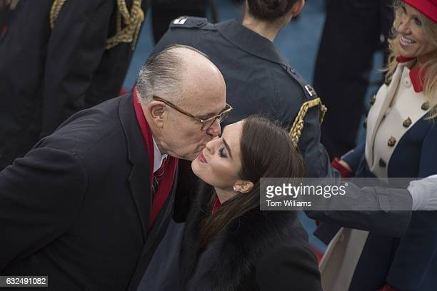 Rudy Giuliani greets White House aide Hope Hicks on the West Front of the Capitol before her boss Donald J Trump was sworn in as the 45th President...