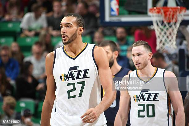 Rudy Gobert and Gordon Hayward of the Utah Jazz react to a play against the Memphis Grizzlies on November 14 2016 at vivintSmartHome Arena in Salt...