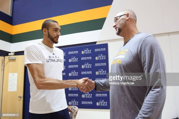 Rudy Gobert and Greg Ostertag of the Utah Jazz meet during a press interview about the 1997 Reunited Western Conference Champs at Zions Bank...