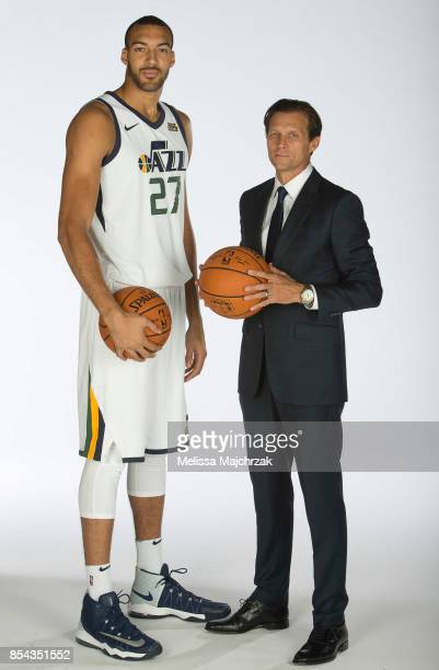 Rudy Gobert and Quin Snyder Head Coach of the Utah Jazz poses for a photo during media day at Zions Bank Basketball Center on September 25 2017 in...