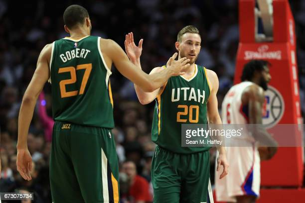 Rudy Gobert congratulates Gordon Hayward of the Utah Jazz during the first half of Game Five of the Western Conference Quarterfinals at Staples...