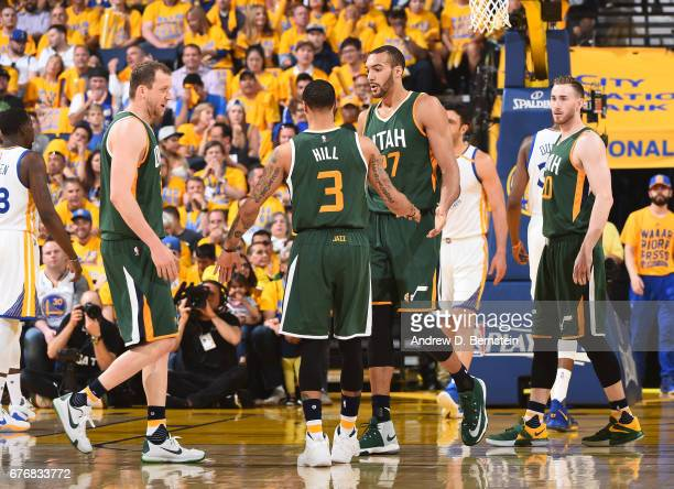 Rudy Gobert George Hill and Joe Ingles of the Utah Jazz react to a play during Game One of the Western Conference Semifinals of the 2017 NBA Playoffs...