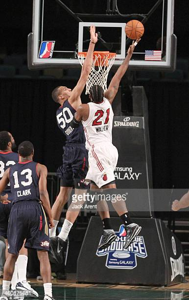 Rudy Gobert of the Bakersfield Jam blocks a shot against Henry Walker of the Sioux Falls Skyforce during the 2014 NBA DLeague Showcase presented by...