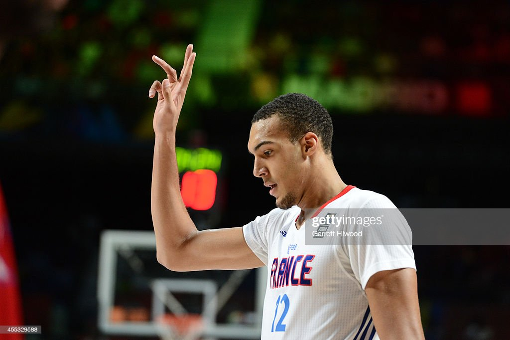 <a gi-track='captionPersonalityLinkClicked' href=/galleries/search?phrase=Rudy+Gobert&family=editorial&specificpeople=7616046 ng-click='$event.stopPropagation()'>Rudy Gobert</a> #12 of the France National Team calls a play against the Serbia National Team at Palacio de Deportes on September 12, 2014 in Madrid, Spain.