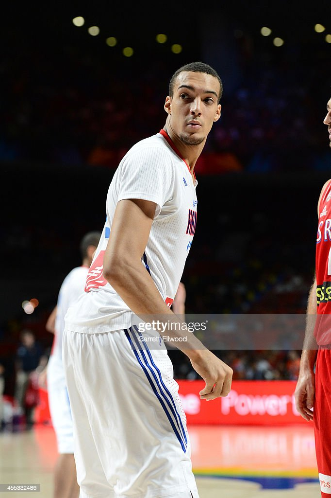 Rudy Gobert #12 of the France National Team looks on against the Serbia National Team at Palacio de Deportes on September 12, 2014 in Madrid, Spain.