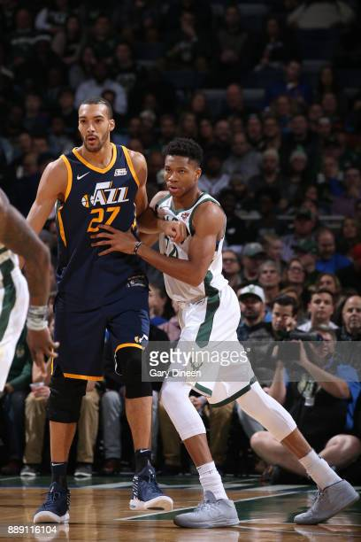 Rudy Gobert of the Utah Jazz and Giannis Antetokounmpo of the Milwaukee Bucks battles for position on December 9 2017 at the BMO Harris Bradley...