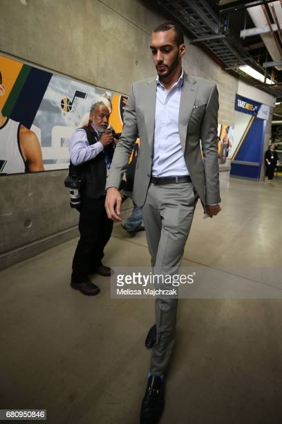 Rudy Gobert of the Utah Jazz arrives at the arena before Game Three of the Western Conference Semifinals against the Golden State Warriors during the...