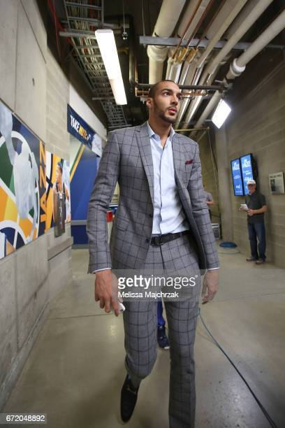Rudy Gobert of the Utah Jazz arrives for Game Four of the Western Conference Quarterfinals of the 2017 NBA Playoffs on April 23 2017 at...