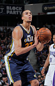 Rudy Gobert of the Utah Jazz attempts a free throw shot against the Sacramento Kings on December 8 2014 at Sleep Train Arena in Sacramento California...