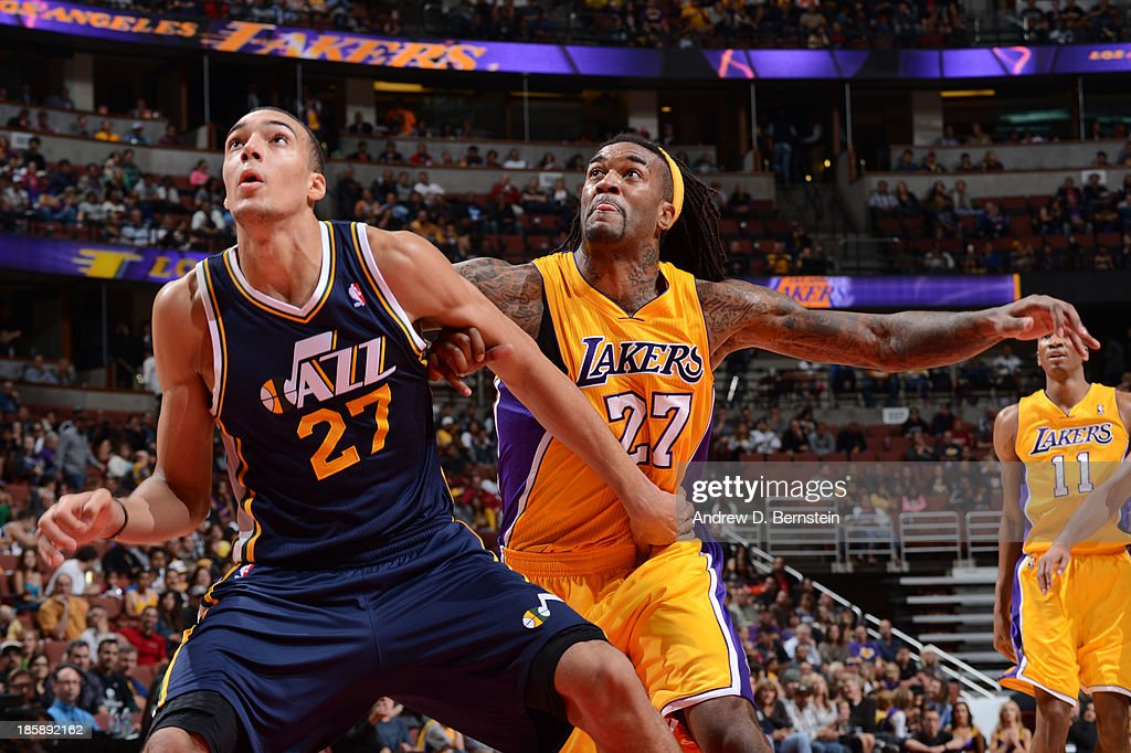 <a gi-track='captionPersonalityLinkClicked' href=/galleries/search?phrase=Rudy+Gobert&family=editorial&specificpeople=7616046 ng-click='$event.stopPropagation()'>Rudy Gobert</a> #27 of the Utah Jazz attempts to box-out <a gi-track='captionPersonalityLinkClicked' href=/galleries/search?phrase=Jordan+Hill+-+Basketball+Player&family=editorial&specificpeople=13503530 ng-click='$event.stopPropagation()'>Jordan Hill</a> #27 of the Los Angeles Lakers during a preseason game at the Honda Center in Anaheim, California on October 25, 2013.