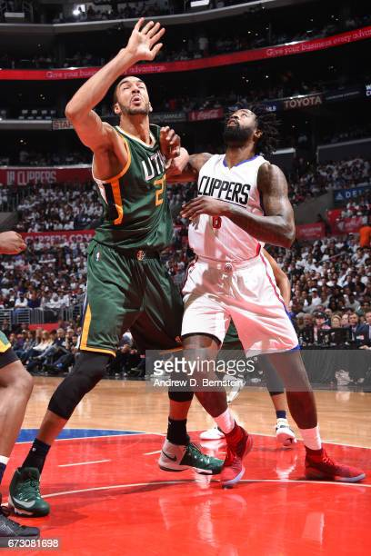 Rudy Gobert of the Utah Jazz battles for position against DeAndre Jordan of the LA Clippers in Game Five of the Western Conference Quarterfinals of...