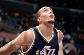 Rudy Gobert of the Utah Jazz battles for position against the Los Angeles Lakers on March 19 2015 at STAPLES Center in Los Angeles California NOTE TO...