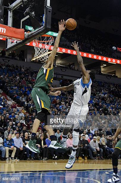 Rudy Gobert of the Utah Jazz blocks a shot by Andrew Wiggins of the Minnesota Timberwolves during the game on January 7 2017 at the Target Center in...