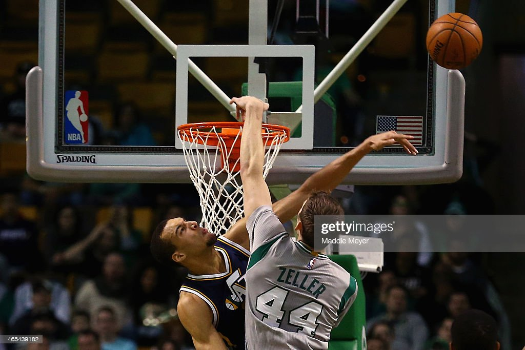 <a gi-track='captionPersonalityLinkClicked' href=/galleries/search?phrase=Rudy+Gobert&family=editorial&specificpeople=7616046 ng-click='$event.stopPropagation()'>Rudy Gobert</a> #27 of the Utah Jazz blocks a shot from <a gi-track='captionPersonalityLinkClicked' href=/galleries/search?phrase=Tyler+Zeller&family=editorial&specificpeople=5122156 ng-click='$event.stopPropagation()'>Tyler Zeller</a> #44 of the Boston Celtics during the second half at TD Garden on March 4, 2015 in Boston, Massachusetts. The Celtics defeat the Jazz 85-84.